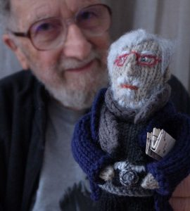 Harold Chapman and his knitted doppleganger