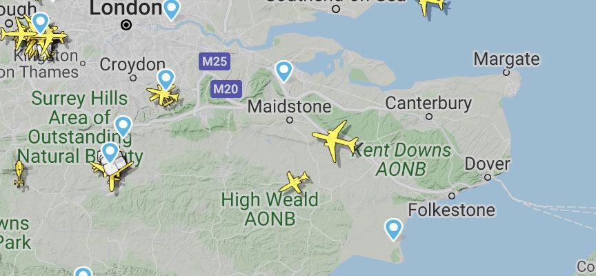 See flight paths over Deal, Kent