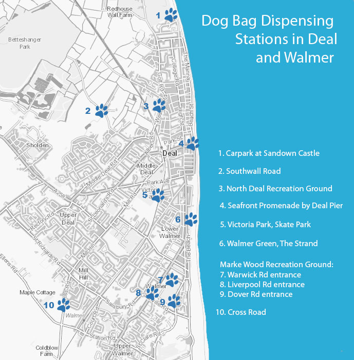 Map of Dog Poo Bag Dispensers in Deal